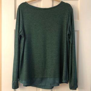 Lands' End Split Back Green Long Sleeve Knit Top